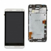 LCD + Touch HTC One/M7 с рамка - сив