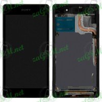 LCD + Touch HTC One mini/M4 с рамка - сив