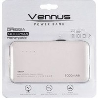 Power Bank Vennus 9000 mah black+iphone adapter